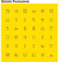 Linear packaging icon set vector image vector image