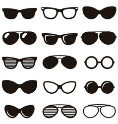 Set of black retro sunglasses icons vector image