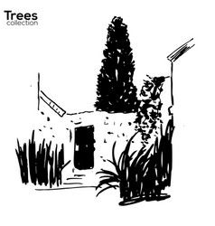 trees collection ink old wall and plants vector image