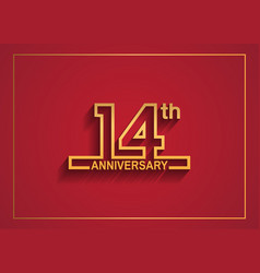 14 anniversary design with simple line style vector