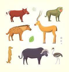 african animals cartoon set safari vector image