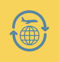 Airplane arrows planet around world vector
