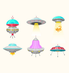 alien spaceships set of ufo unidentified flying vector image