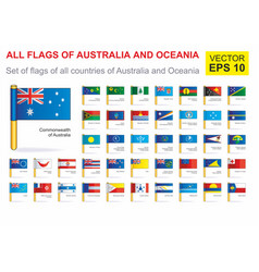 All flags continent australia and oceania vector