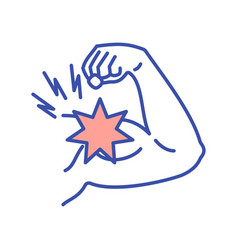 Arm muscle strain rgb color icon vector