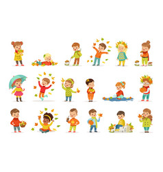 Autumn children s outdoor seasonal activities set vector