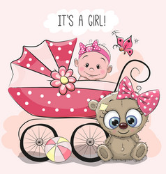 Baby girl with baby carriage and teddy bear vector