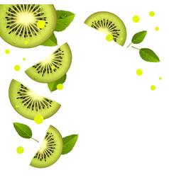 Background juicy kiwi slices and splashes of vector