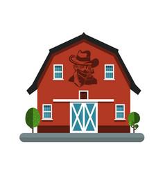 barn symbol with cowboy on wall building icon vector image