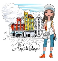 beautiful fashion girl in Amsterdam vector image