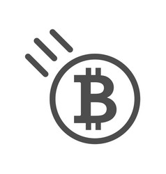 bitcoin sign icon - price go down and falling vector image