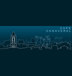 Cape canaveral multiple lines skyline vector