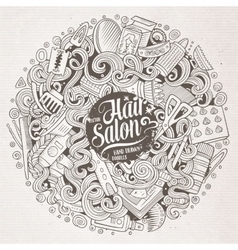 Cartoon doodles Hair salon vector image