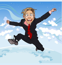 cartoon man in suit and tie fun jumps vector image