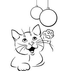 cat playing with xmas ball - black outline vector image