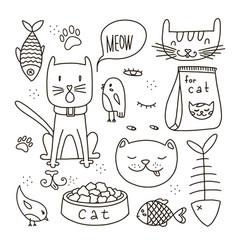 cats line doodle set vector image