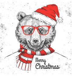 Christmas hipster fashion animal bear vector