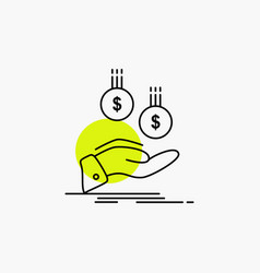 coins hand currency payment money line icon vector image