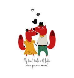 couple smartly dressed foxes vector image