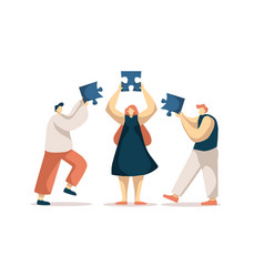 Coworkers assembling jigsaw puzzle colleagues vector
