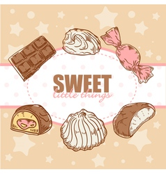 Creative retro card with candies and marshmallow vector