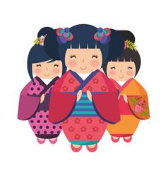 Cute kokeshi dolls vector