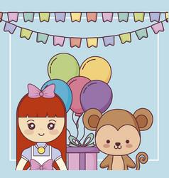 Cute monkey with little girl happy birthday card vector