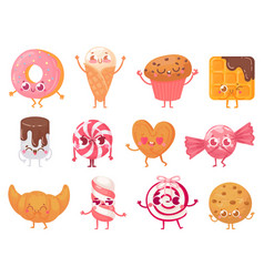 cute sweets happy cupcake mascot funny sweet vector image