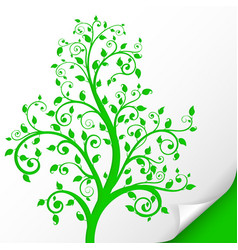 decorative tree embossed green ornamental vector image
