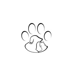Dog and cat paw lined logo design inspiration vector