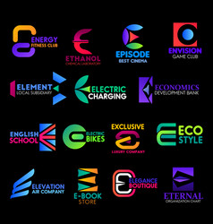 E icons digital technology corporate identity vector