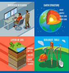 earth exploration isometric design concept vector image