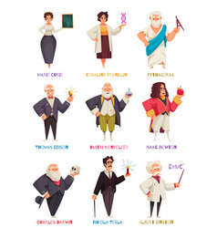 Famous scientists characters set vector