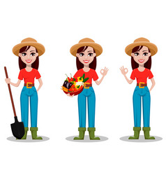 female farmer cartoon character vector image