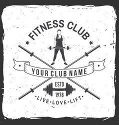 fitness club badge for fitness centers vector image