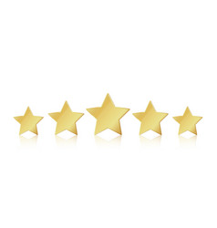 Five gold stars 5 star rating realistic vector