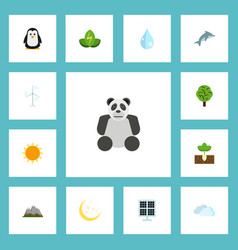 flat icons eco energy sun power sprout and other vector image