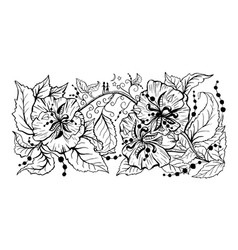floral branch hand drawn outline drawing vector image