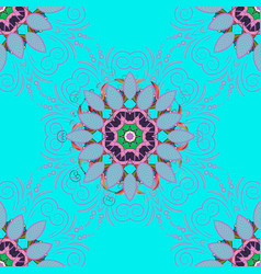 floral ornament seamless pattern blue violet and vector image
