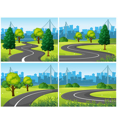 four scenes of city park and roads vector image