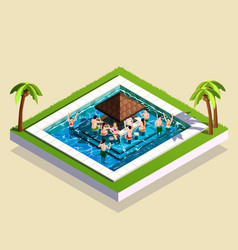 friends in water park isometric vector image