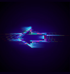 Futuristic cyberpunk glitch left arrow modern vector