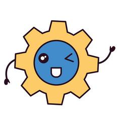gears machinery kawaii character vector image