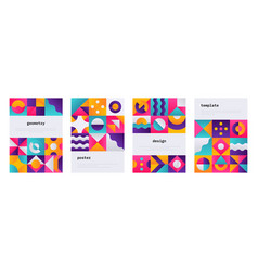 geometric shape poster memphis journal cover with vector image