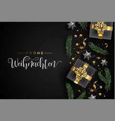 German christmas card of gift and holiday objects vector