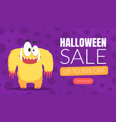 halloween sale landing page template cute funny vector image