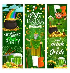 Happy st patrick day symbols food drinks music vector