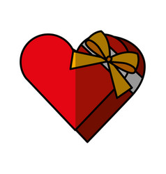 Heart giftbox present isolated icon vector