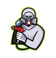 Industrial spray painter mascot vector