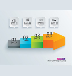 infographics arrow timeline step with 4 data vector image